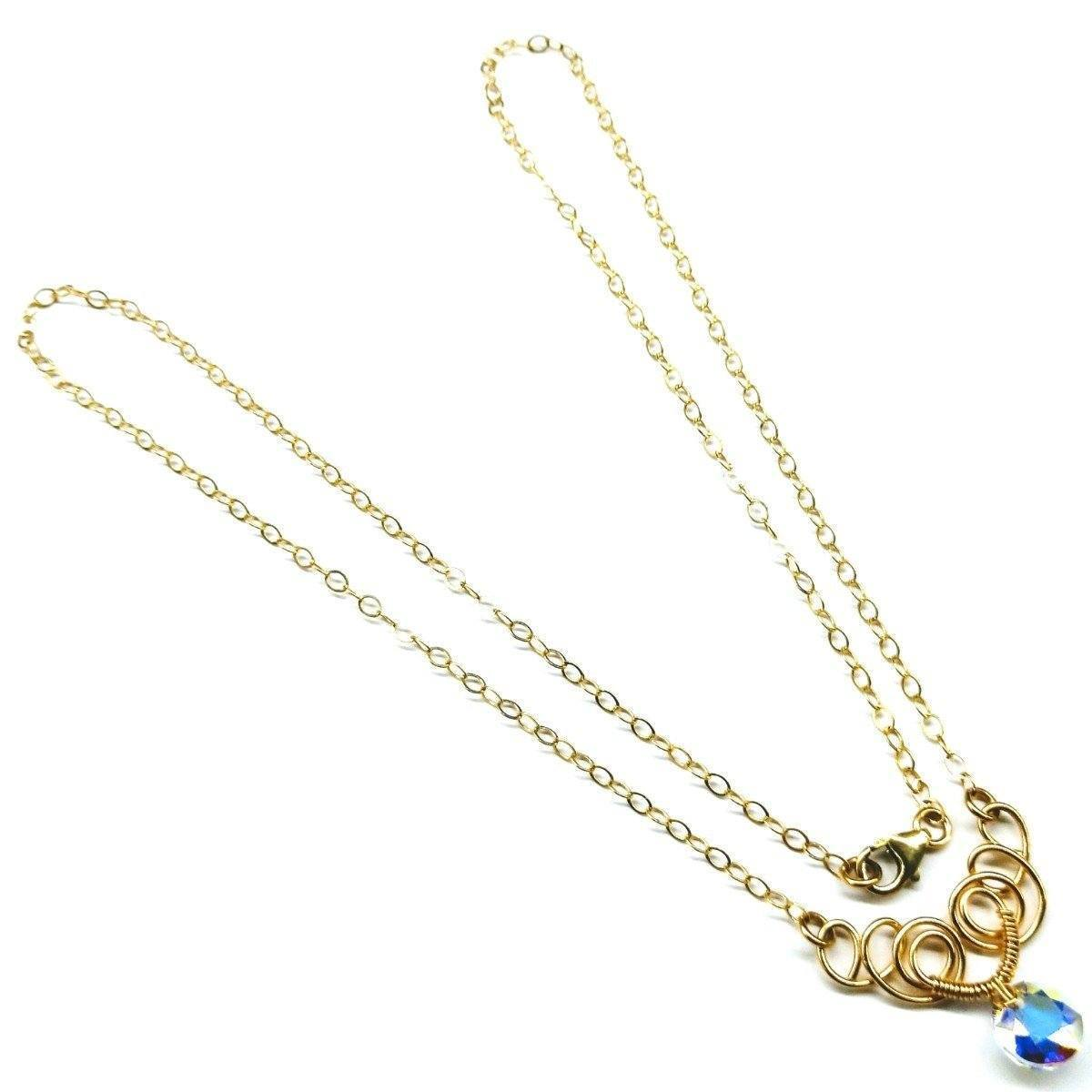 Sparkly Crystal Ab Wire Sculpted 14 Kt Gold Filled Necklace