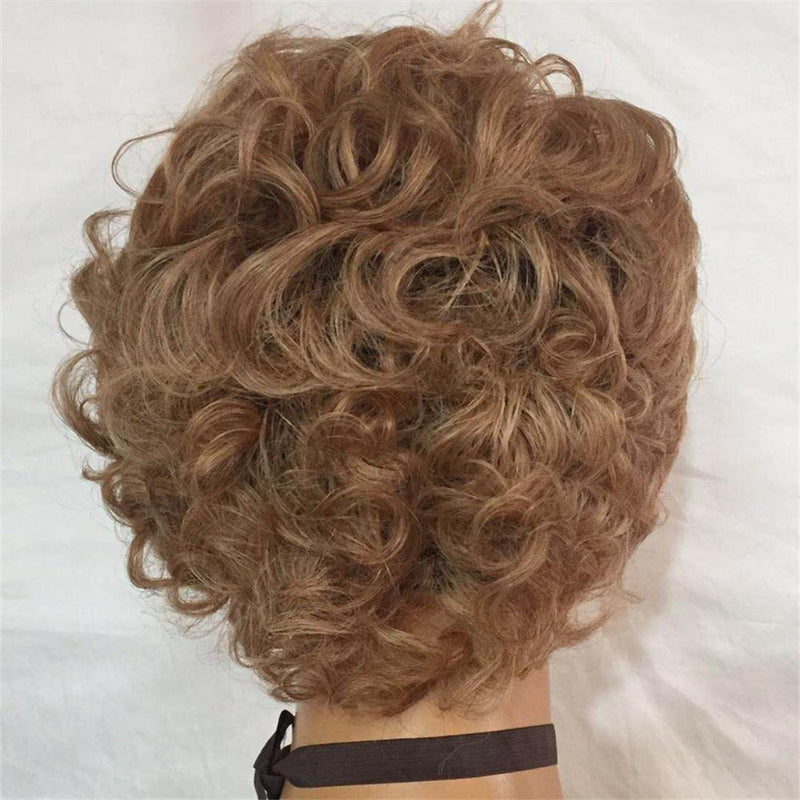 Jessica Hair 13x6 Lace Front Human Hair Wigs Flower Curly Short Bob Wigs For Business elite lady 27# Blonde Color Wigs
