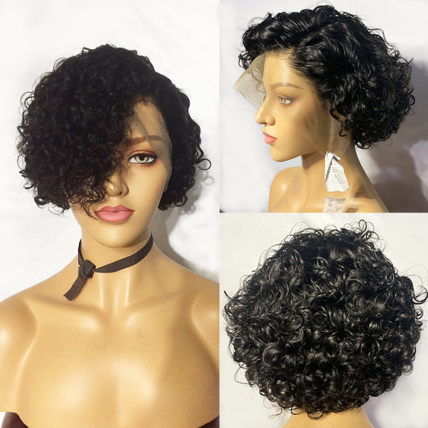 Jessica Hair 13x6 Lace Front Human Hair Wigs Flower Curly Short Bob Wigs For Business elite lady Natural Color Wigs