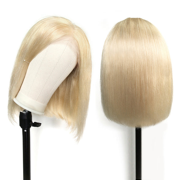 Hot Sale -- Same Day Fast Shipping Jessica Hair 613# Color Short Bob Lace Front Human Hair Wigs Brazilian Straight Hair Pre Plucked Blonde Wigs