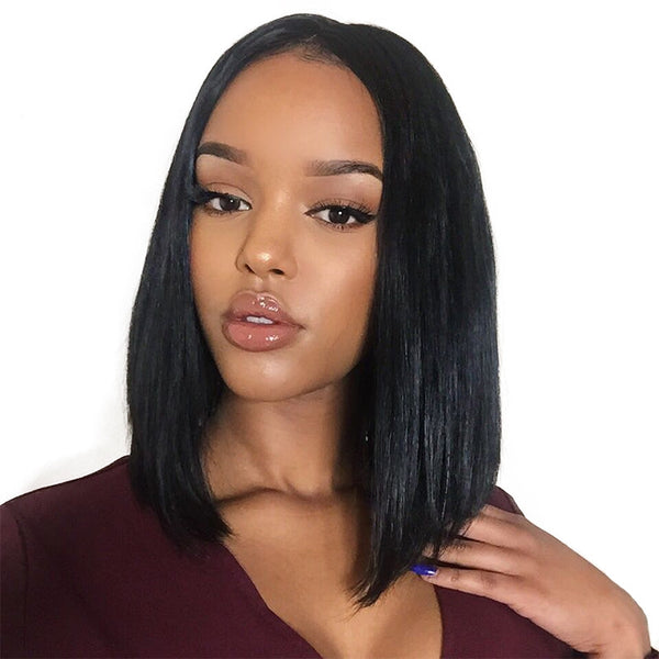 Jessica hair Silky 13x6 Lace Front Straight Bob Wigs Human Hair