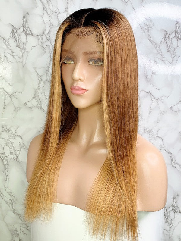 Jessica Hair 13x6 Lace Front Human Hair Wigs Ombre Color 1bT6#T27# Color Silky Straight Brazilian Remy Hair