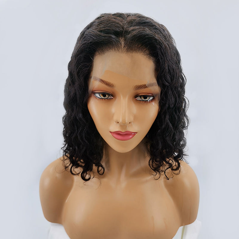 Jessica Hair 13x6 Lace Front Human Hair Wigs Water Wave Bob Wigs Brazilian Hair Wigs For Black Women