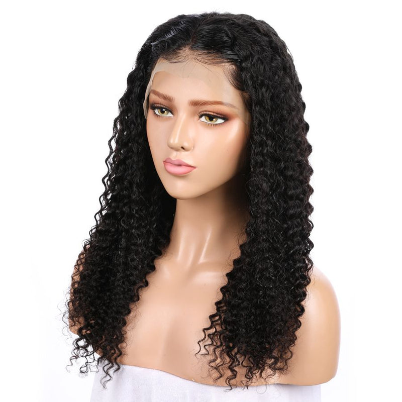 Jessica Hair 360 Lace Frontal Human Hair Wigs Natural Color Kinky Curly  Remy Hair Wigs For Black Women(J10182)