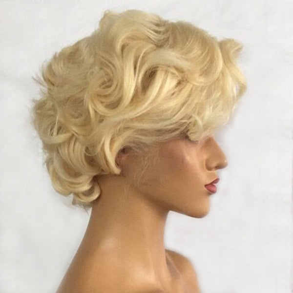 Jessica Hair 13x6 Lace Front Human Hair Wigs Flower Curly Short Bob Wigs For Business elite lady 613# Blonde Color Wigs