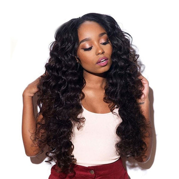 Jessica Hair Full Lace Wigs Human Hair Wigs Loose Wave Brazilian Remy Hair Natural Color Wigs For Black Women(J10251)