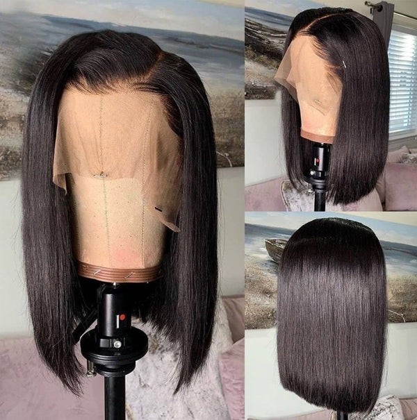 Jessica Hair Double Drawn 13x6 Lace Front Human Hair Wigs Pre Plucked Silky Straight Remy Hair Bob Wigs