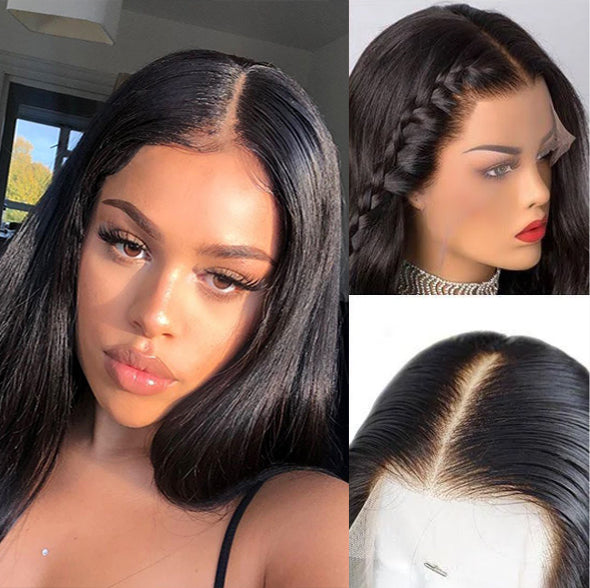Jessica Hair  Lace Front Wigs Pre Plucked Short Silky Straight Brazilian Remy Hair Human Hair Wigs
