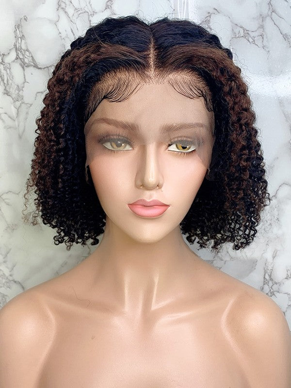 Jessica Hair 13x6 Lace Front Human Hair Wigs Ombre Color 1bT4# Bob Wig Deep Curly Brazilian Remy Hair