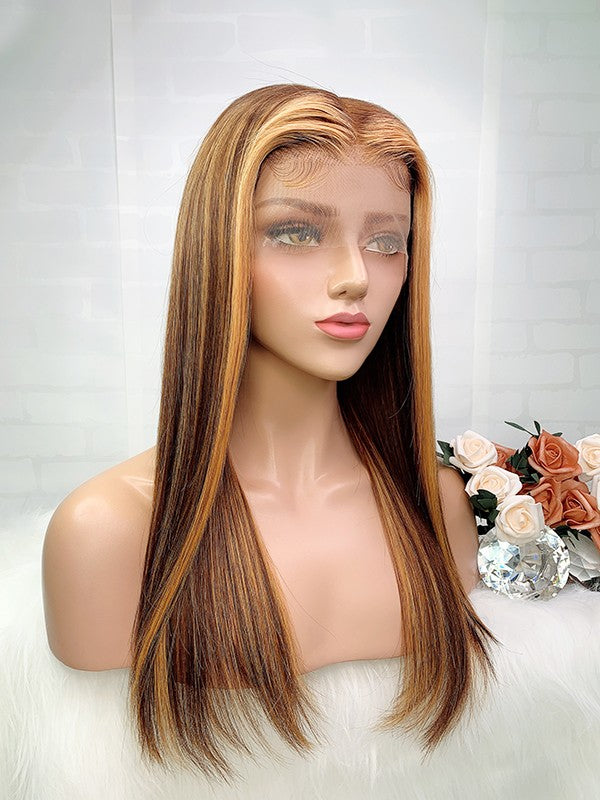 Jessica Hair 13x6 Lace Front Human Hair Wigs Ombre Color 6#/27# Silky Straight Brazilian Remy Hair