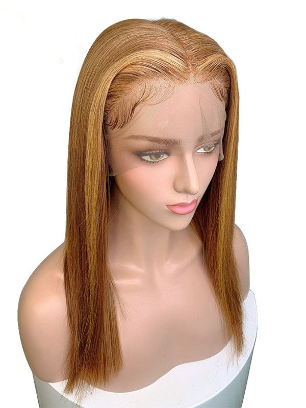 Jessica Hair 13x6 Lace Front Human Hair Wigs Silky Straight Ombre Color 6T27# Brazilian Remy Hair