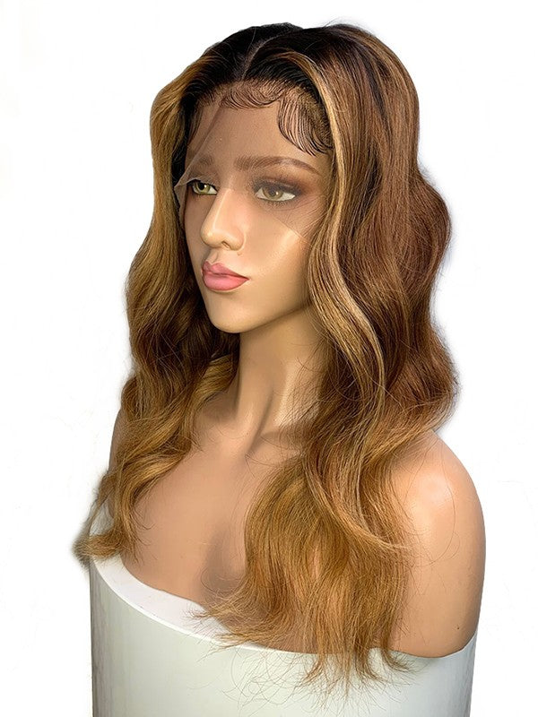 Jessica Hair 13x6 Lace Front Wigs Human Hair Wigs Body Wave Brazilian Remy Hair Ombre Color Wigs For Black Women (1BT6#T27#)