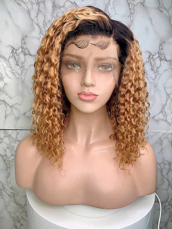 Jessica Hair 13x6 Lace Front Human Hair Wigs Short Bob Curly Brazilian Remy Hair Ombre Color Wigs For Black Women (1bT27#)