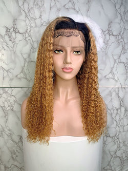 Jessica Hair 13x6 Lace Front Human Hair Wigs Jerry Curl 1BT27#  Ombre Color Wigs Brazilian Remy Hair Wigs For Black Women