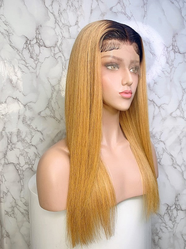 Jessica Hair 13x6 Lace Front Human Hair Wigs Ombre Color 1BT27# Silky Straight Brazilian Remy Hair