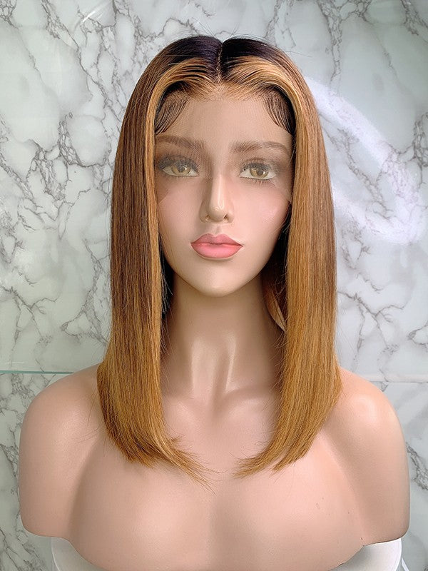 Jessica Hair 13x6 Lace Front Human Hair Wigs Short Bob Straight Brazilian Remy Hair Ombre Color Wigs For Black Women (1bT6#T27#)