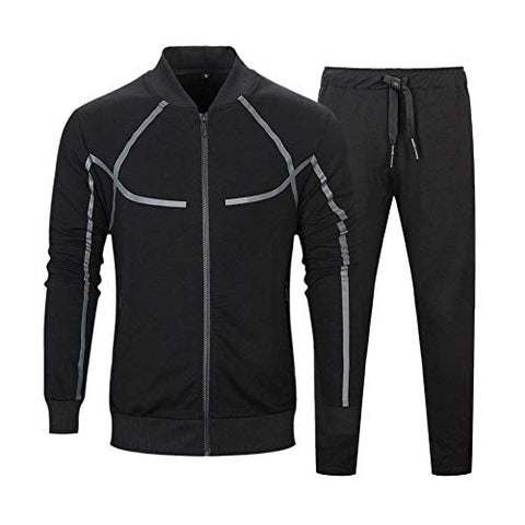 Men's Tracksuit Active wear Set 2 Piece Athletic Sports Casual Full Zip