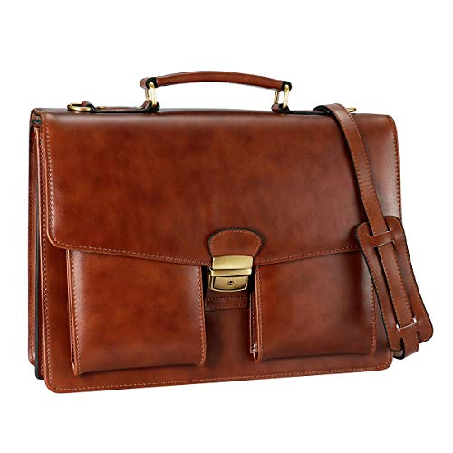 DanPi Brown Leather Briefcase with Lock