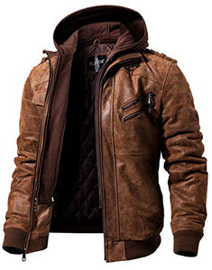 Brown FLAVOR brown Leather Motorcycle Jacket with Removable Hood