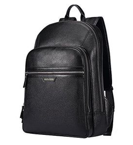BISON DENIM Classic School Laptop Backpack Genuine Leather Book Bag