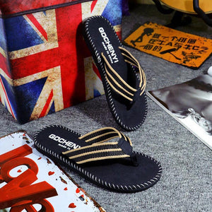 Men Adult Solid Summer Outside Flip Flops Flower Slippers