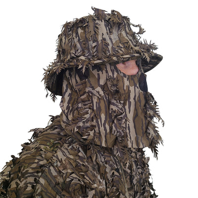 Mossy Oak Original Bottomland Leafy Bucket Hat with Built-in Face Mask (One Size Fits Most, Adj)