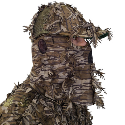 Mossy Oak ORIGINAL Bottomland Hat with Built-in Leafy Face Mask (FRONT Model, One Size Fits Most)
