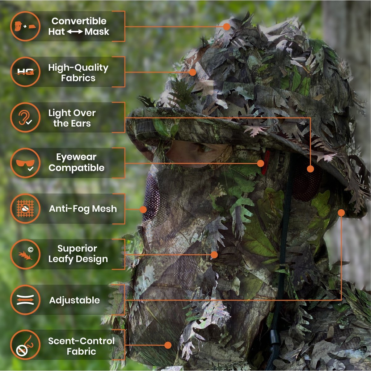 3D Leafy Camo Bucket Hat with Built-in Leafy Camo Face Mask