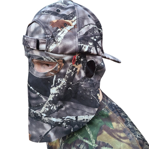 Man Wearing a Mathews Lost Camo Hat Backwards with Face Mask on a Blank White Background