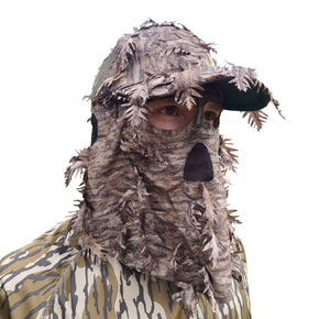 Mossy Oak New Bottomland Hat with Built-in Leafy Face Mask (Front Model, OSFM Adj) on White Background