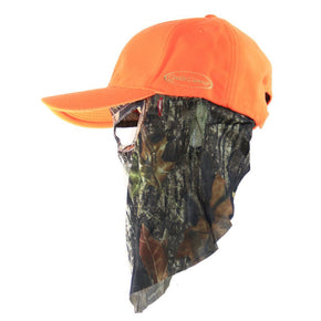 Blaze Orange Hat with Mossy Oak Break-Up Face Mask (60cm - 7 5/8) - QuikCamo