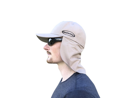 Khaki Sun Shade Hats | UV Protection | UPF 45+ | CoolCore Fabric (Fitted) - QuikCamo