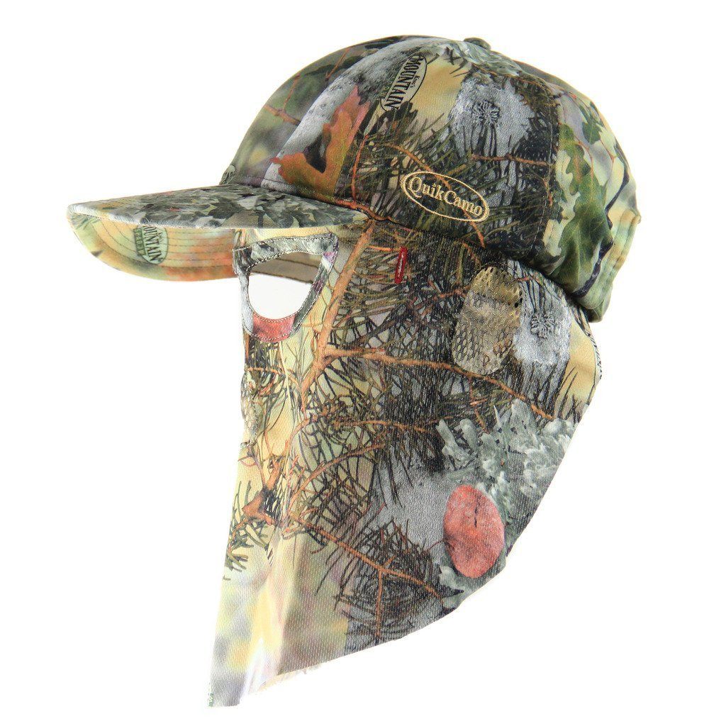 Kings Mountain Shadow | Camo Hat with Front Face Mask (Adjustable) - QuikCamo