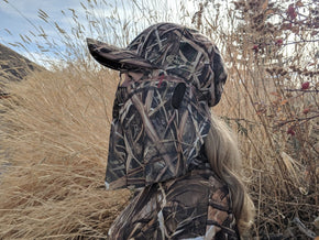 Mossy Oak Shadow Grass Blades | Camo Hat and Front Face Mask (60 cm Adjustable) - QuikCamo