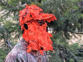 Orange Realtree AP | 3D Leafy Hat and Front Face Mask (60 cm Adjustable) - QuikCamo