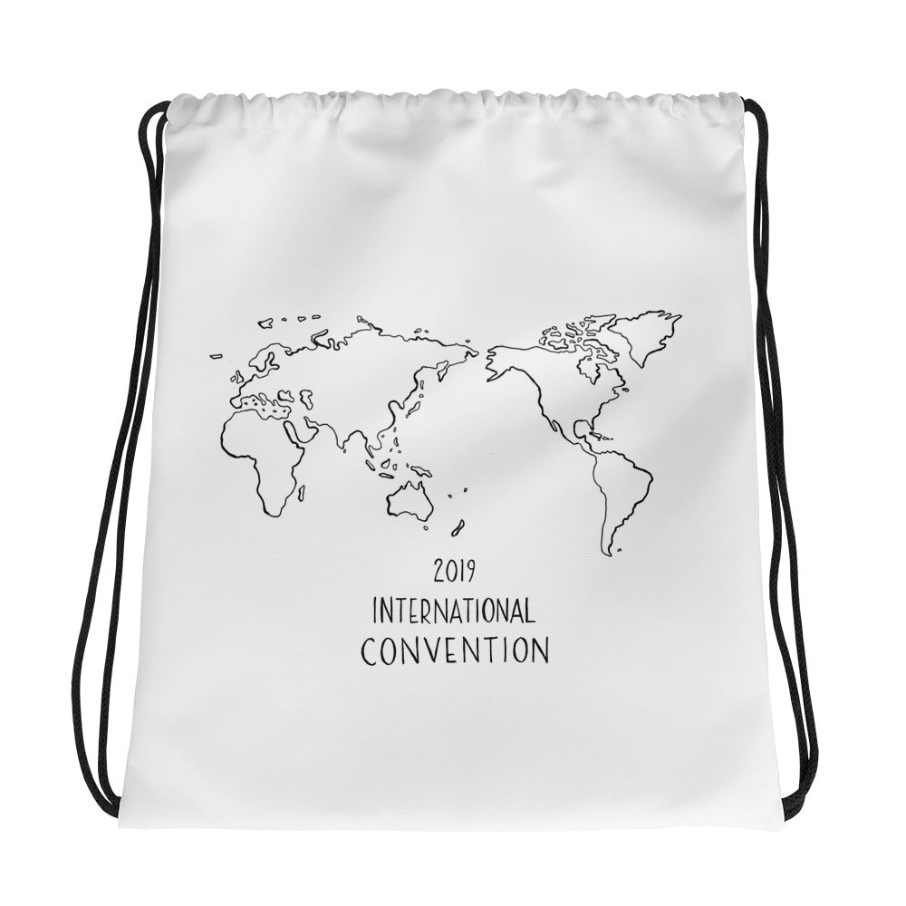 TEXT & WORLD MAP - 2019 INTERNATIONAL CONVENTION - DRAWSTRING BAG