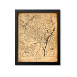 Albany Map Art Print, New York