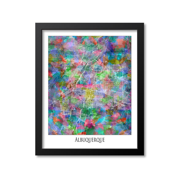 Albuquerque Map Art Print, New Mexico