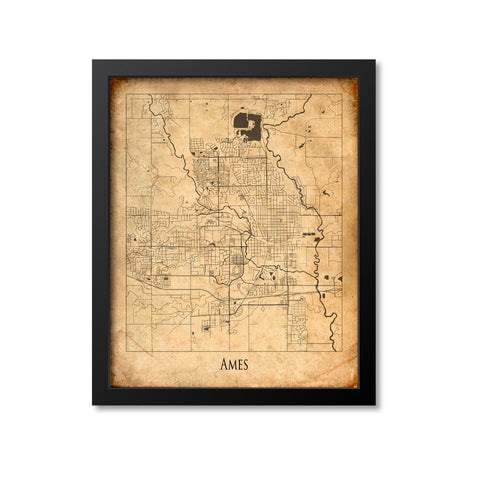 Ames Map Art Print, Iowa