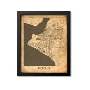 Anchorage Map Art Print, Alaska