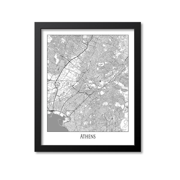 Athens Map Art Print, Greece