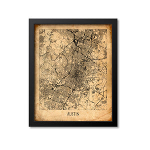Austin Map Art Print, Texas