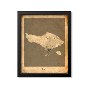 Bali Map Art Print, Indonesia
