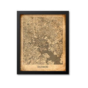 Baltimore Map Art Print, Maryland