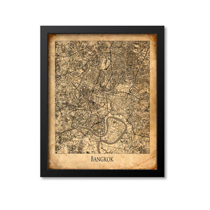 Bangkok Map Art Print, Thailand