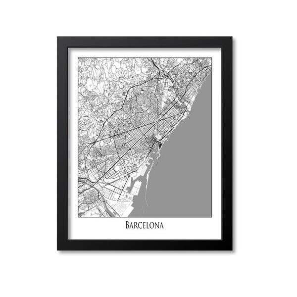 Barcelona Map Art Print, Spain