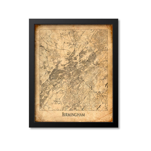 Birmingham Map Art Print, Alabama