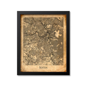 Boston Map Art Print, Massachusetts