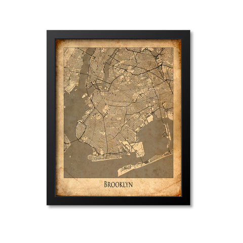 Brooklyn Map Art Print, New York