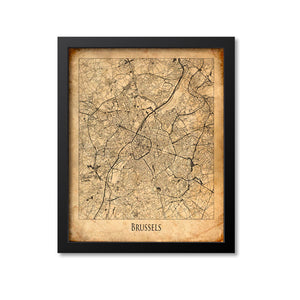 Brussels Map Art Print, Belgium